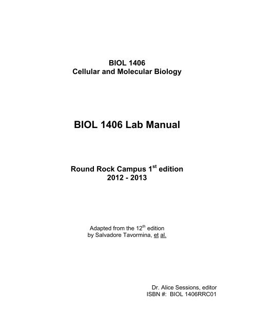 BIOL 1406 Lab Manual Austin Community College