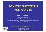 SOMATIC MUTATIONS in CANCER Siena 2012 - Unisi.it