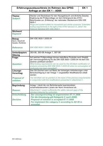 Erfahrungsaustauschkreis im Rahmen des GPSG EK 1 ... - VDE