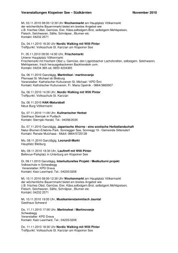 Veranstaltungen Klopeiner See – Südkärnten November 2010 - 3DAK