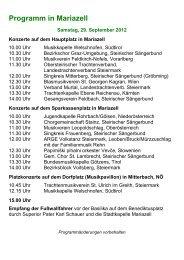 Programm in Mariazell - Steirischer BLASMUSIKVERBAND
