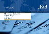 M&A International Inc.: Retail Deal Book - Angermann M&A ...