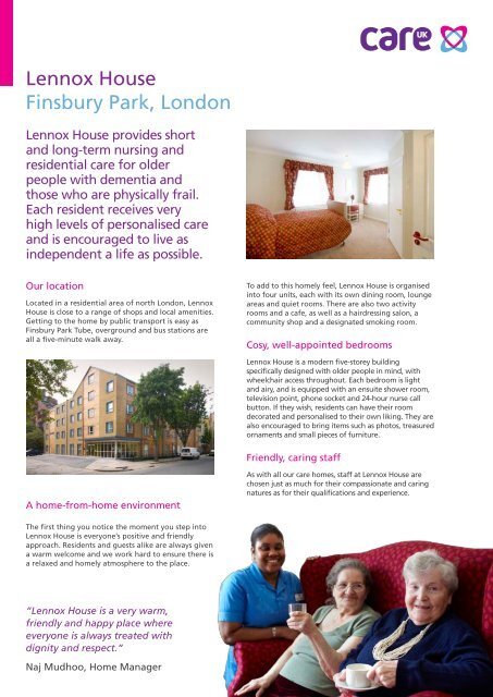 Lennox House Finsbury Park, London - Compare Care Homes