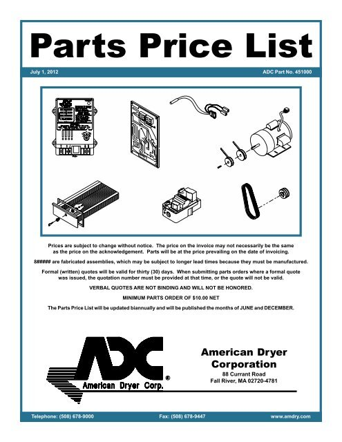 Partspricecover July 2012 2pmd American Dryer Corporation