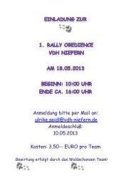 Anmeldung bitte per Mail an: ulrike.seidl@vdh-niefern.de ...