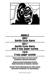 MODELS 8007 Gorilla Cycle Alarm 8017 Gorilla Cycle Alarm with 2 ...