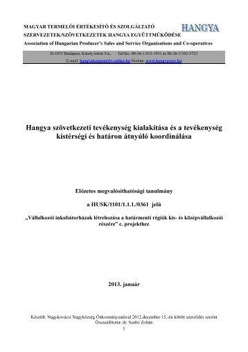 Hangyaszövetkezeti Tanulmány - Nagykovácsi