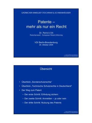 Patente - mehr als nur ein Recht - VDI