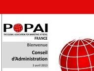 Présentation du CA du 3 avril 2013 - Popai France