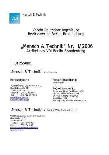 tb/archiv/Mensch & Technik BB Nr II 2006.pdf - VDI