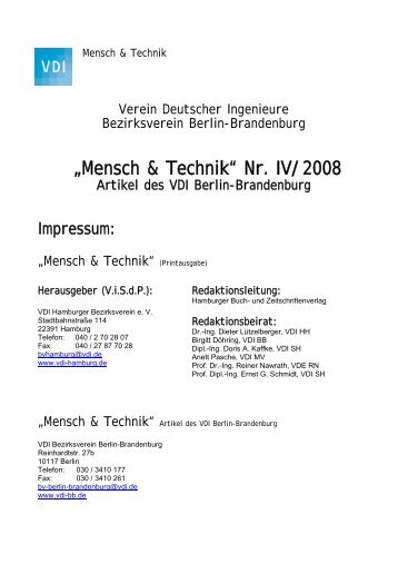 tb/archiv/Mensch & Technik BB Nr IV 2008.pdf - VDI