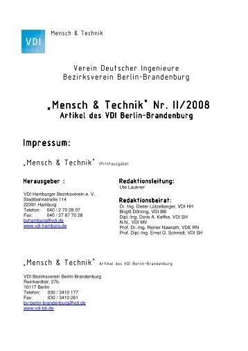 tb/archiv/Mensch & Technik BB Nr II 2008.pdf - (VDI) Berlin ...