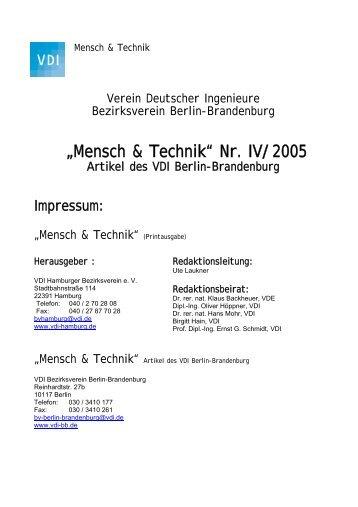 """""""Mensch & Technik"""" Nr. IV/2005 - (VDI) Berlin-Brandenburg"""