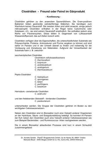 Clostridien - Freund oder Feind im Gärprodukt - Biogas-Infoboard