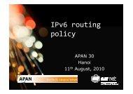 IPv6 routing policy - APAN