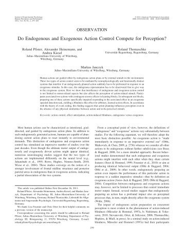 Do Endogenous and Exogenous Action Control Compete for ...
