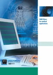 SAW filters for medical applications - Vectron International
