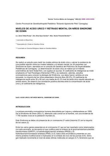 niveles de acido urico y retraso mental en niños sindrome de down