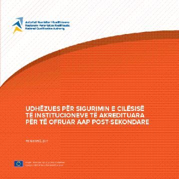 Udhëzues për sigurimin e cilësisë të institucioneve të akredituara ...