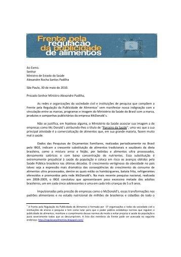 Ao Exmo. Senhor Ministro de Estado da Saúde ... - IBFAN Brasil