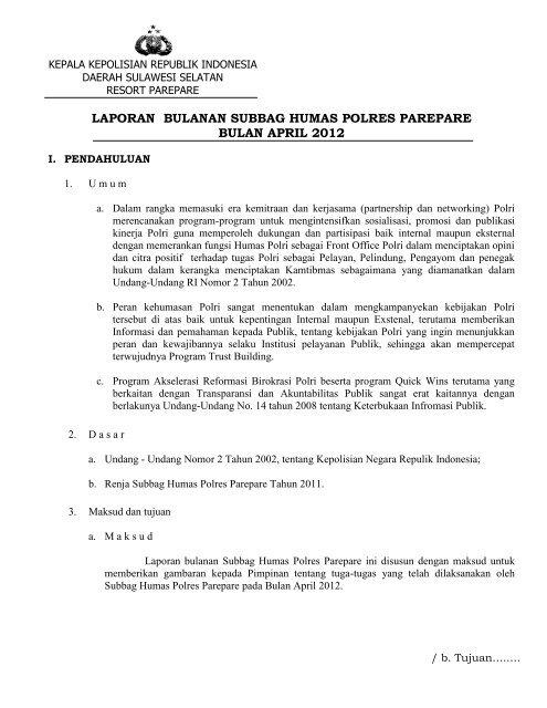 Laporan Bulanan Subbag Humas Polres Parepare Bulan April 2012