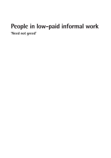 People in low-paid informal work - Joseph Rowntree Foundation