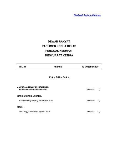 13 Oktober 2011 Parlimen Malaysia