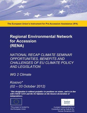 Kosovo ReCAP Climate Policy Seminar 2 - 3 October, 2012 ... - RENA
