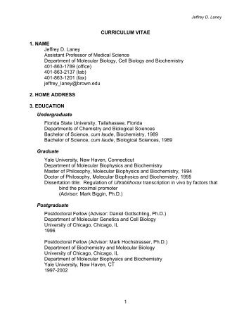1 CURRICULUM VITAE 1. NAME Jeffrey D. Laney - Research ...