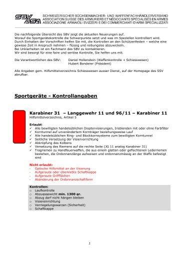 Sportgeräte - Kontrollangaben - Schweizerischer Büchsenmacher ...