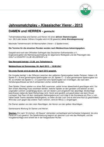 Ausschreibung Vierer - Golf & Country Club Velderhof e.V.