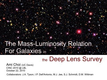 The Mass-Luminosity Relation For Galaxies in the Deep Lens Survey