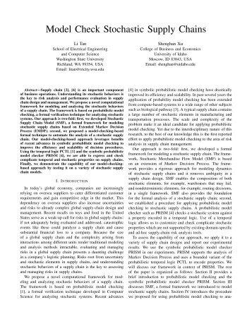 Model Check Stochastic Supply Chains - Washington State ...