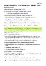 Projektbeskrivning, Programmering för webben, vt 2013