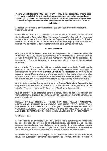 Norma Oficial Mexicana NOM - 024 - SSA1 – 1993. Salud ... - BVSDE