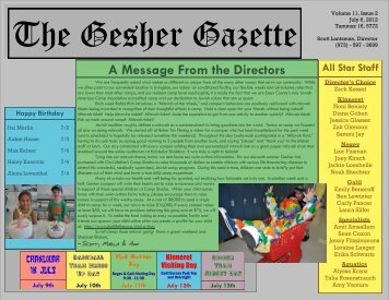 Volume 11 - Issue 2 - July 6, 2012 - Gesher Summer Camp