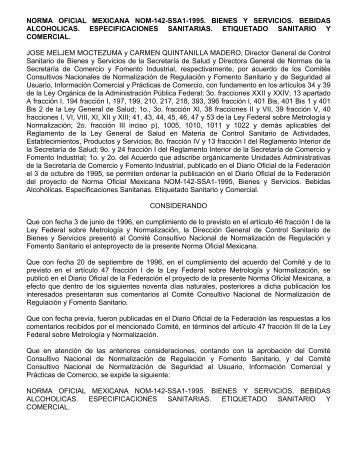 NORMA OFICIAL MEXICANA NOM-142-SSA1 ... - Contraloria BCS