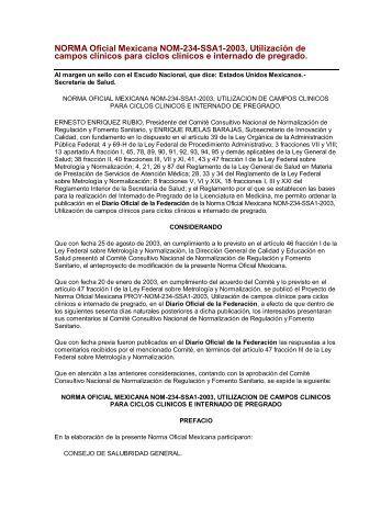 NORMA Oficial Mexicana NOM-234-SSA1-2003 ... - COMAEM