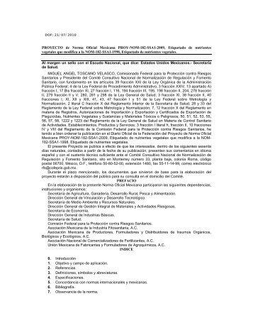 PROYECTO de Norma Oficial Mexicana PROY-NOM-182-SSA1 ...