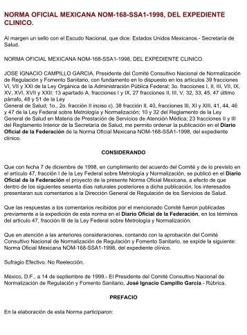 norma oficial mexicana nom-168-ssa1-1998, del expediente clinico