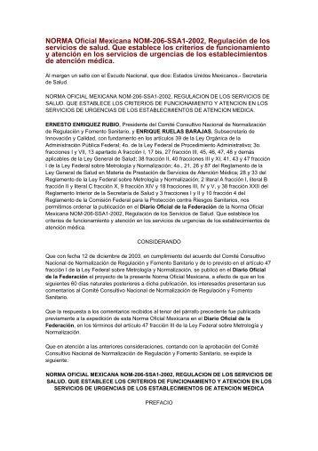 NORMA Oficial Mexicana NOM-206-SSA1-2002, Regulacin de los ...