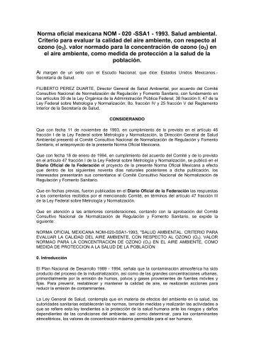 Norma oficial mexicana NOM - 020 -SSA1 - 1993. Salud ... - BVSDE
