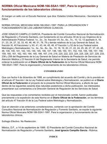 Norma Oficial Mexicana NOM-166-SSA1-1997, para la organización ...
