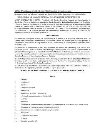 NORMA Oficial Mexicana NOM-072-SSA1-1993, Etiquetado de ...