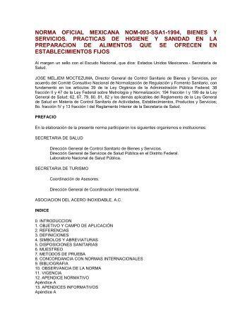 NORMA OFICIAL MEXICANA NOM-093-SSA1-1994, BIENES Y ...