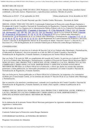 NORMA Oficial Mexicana NOM-243-SSA1-2010 ... - Hablemos Claro