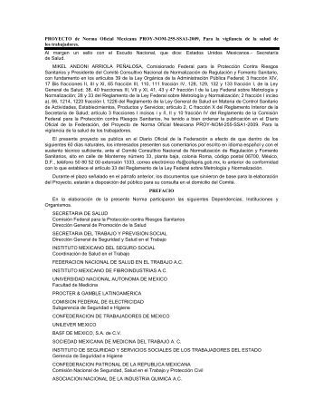 PROYECTO de Norma Oficial Mexicana PROY-NOM-255-SSA1 ...