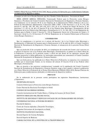 NORMA Oficial Mexicana NOM-241-SSA1-2012 - LEGISMEX ...
