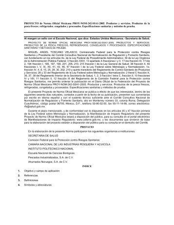 PROYECTO de Norma Oficial Mexicana PROY-NOM-242-SSA1 ...