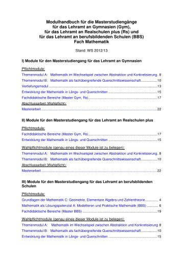 Master of Education - Fachbereich Mathematik